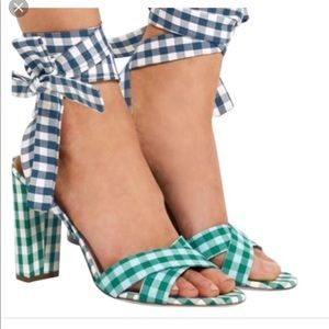 NWOT J.Crew Mixed Gingham Heels with ankle wrap